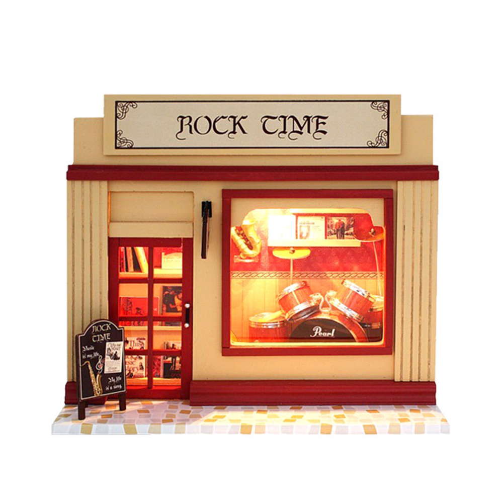 DIY Miniature Room Wooden Doll House Rock Time with Furniture LED Lights Dollhouse Toys for Children