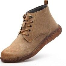 Кожаные безопасные рабочие ботинки; Кожаные Ботинки martin Crazy Horse; мужские модные ботинки-дезерты; популярные кожаные ботинки с высоким берцем
