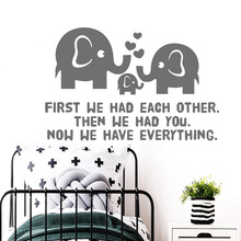Cartoon Style elephant baby Phrase home Wall Stickers For Kids Room Vinyl Mural Decals Bedroom Sticker Wallpaper