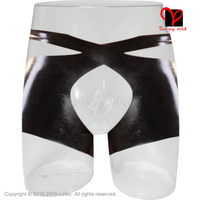Preto Sexy Calcinha virilha aberta com cintos de Underwear calções de Borracha Gummi Látex hotpants Cuecas bottoms calças boyshorts KZ-054