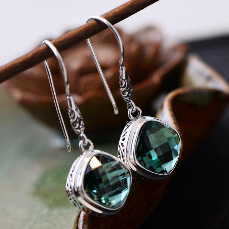 Real 925 Sterling Silver Green Crystal Earrings For Women Multi Faceted Natural Gemstone Simple Hook Drop EarringsReal 925 Sterling Silver Green Crystal Earrings For Women Multi Faceted Natural Gemstone Simple Hook Drop Earrings