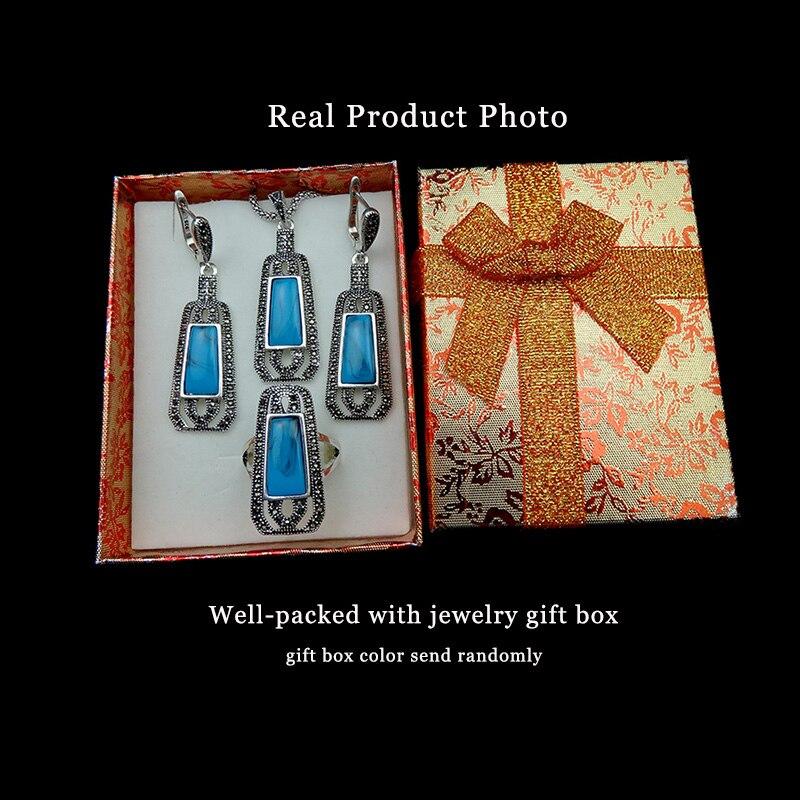 e753075007f6 Feelgood Azul Joyas de Resina Y Cristal Negro Largo Color Turco Conjuntos de  Collar Colgante de Plata de La Vendimia Sistemas de La Joyería Para Las  Mujeres ...