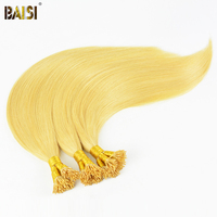 BAISI European Remy Hair Blonde Straight I Tip Human Fusion Hair ,100 Strands/Lot,0.5g/Strand,50/Lot Free Shipping