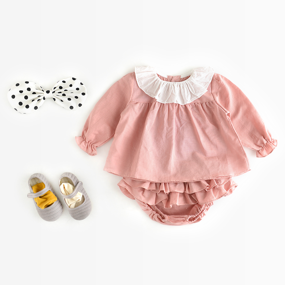 Baby Rompers Spring Solid Color Grid Long Sleeve Cotton Newborn Playsuit Rompers Infant Jumpsuit Baby Girls