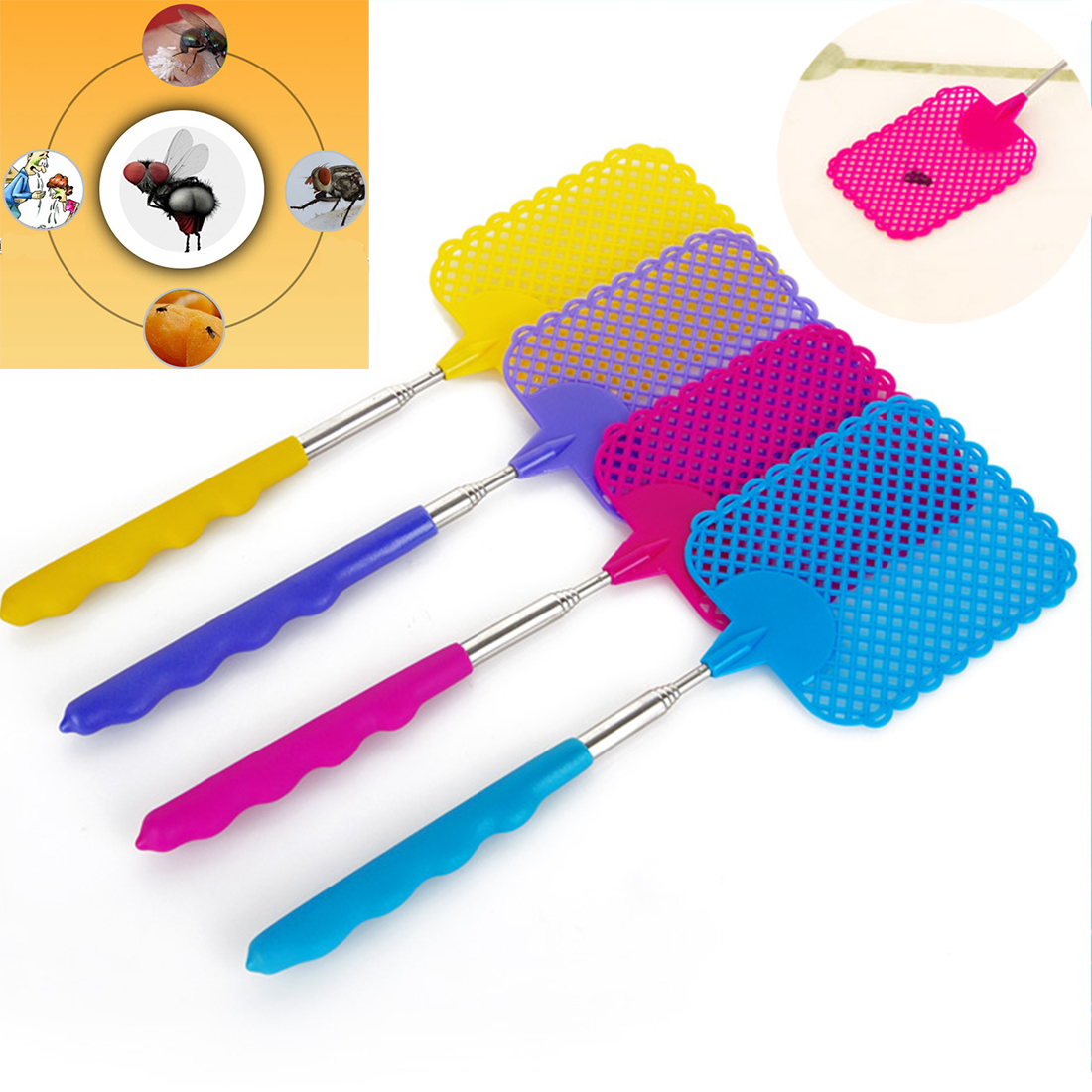 Portable Telescopic Stainless Steel Anti Mosquito Pest Swatters Fly Swatter Bat Circuit Homemade Projects Fashion Handheld Electronic Bug Zapper Racket Random Color