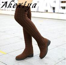 Akexiya 2016 Women's Fashion Knitted Knee High Boots Elastic Slim Autumn Winter Warm Long Thigh High Boots Women's Shoes Size 40