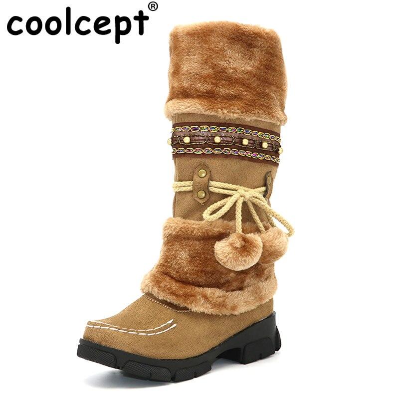 CooLcept Мода Богемия Снегоступы женщина Высокие каблуки Плюшевые Мех животных внутри теплые зимние ботинки Для женщин на платформе Сапоги до колен size35-43