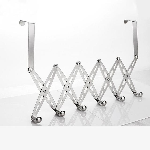 1 Pc No Punching Stainless Steel Six Folding Behind Door Hook Retractable  Clothes Coat Hanger Organizer