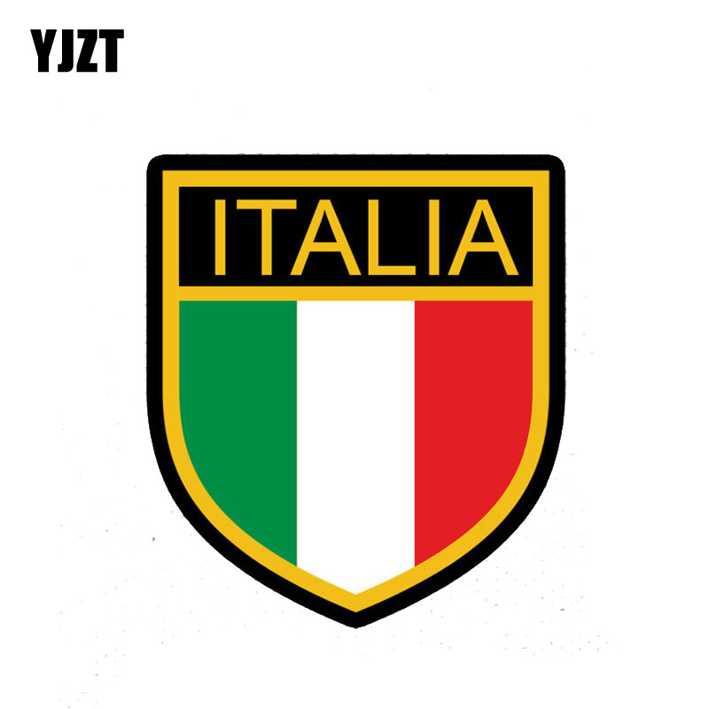 YJZT 10.7CM*12CM Flag ITALY Car Sticker Shield Decal Accessories 6-2254