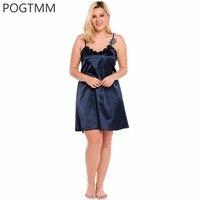Big Size 5XL Summer Sexy Satin Nightgown Sleepwear Women Floral Lace Short Mini Nightwear Silk Sleep