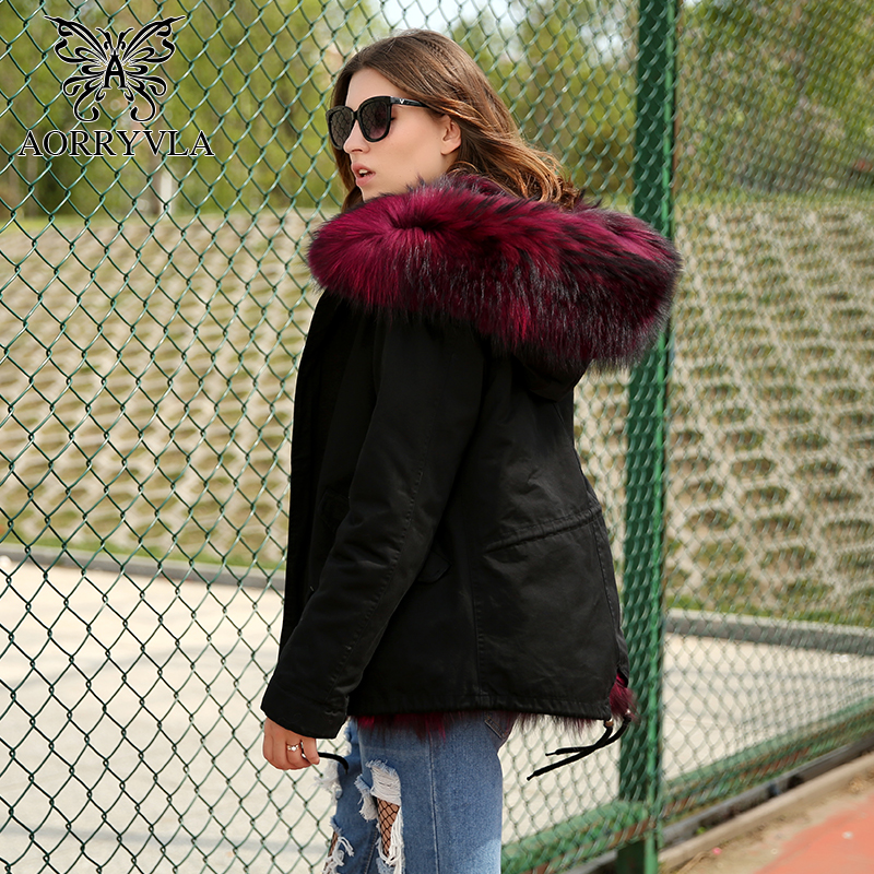 AORRYVLA Winter New Real Fur Parkas For Women 2017 Fashion Black Short Real Fox Fur Lining Jacket Raccoon Fur Collar Hooded Coat 2017 winter new clothes to overcome the coat of women in the long reed rabbit hair fur fur coat fox raccoon fur collar