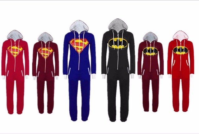New Unisex Pyjamas Superhero Adult Onesies Mens Women Batman Superman One  Piece Cotton Pajamas Sleepwear Onesies 02252793e