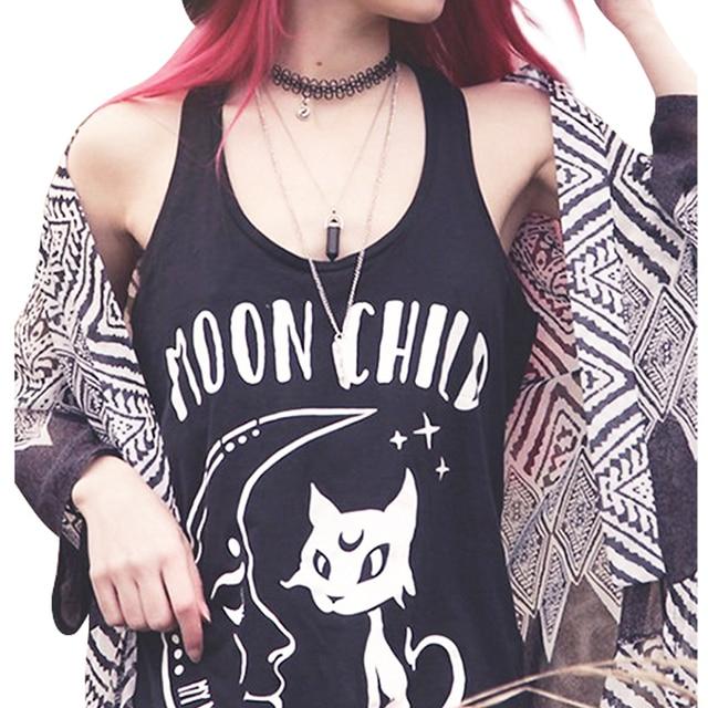 f2b8f23f24955 Femmes Noir Débardeur Mode Lune Enfant Lettre Imprimer Chats Punk Rock  T-shirt Graphique Sans