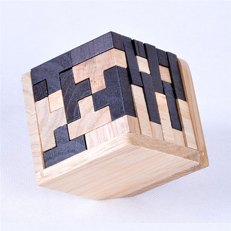 3D Puzzle Interlocking Wooden Cube Toys Kids IQ Brain Teaser Early Learning Educational Toys For Children Montessori Cube Puzzle