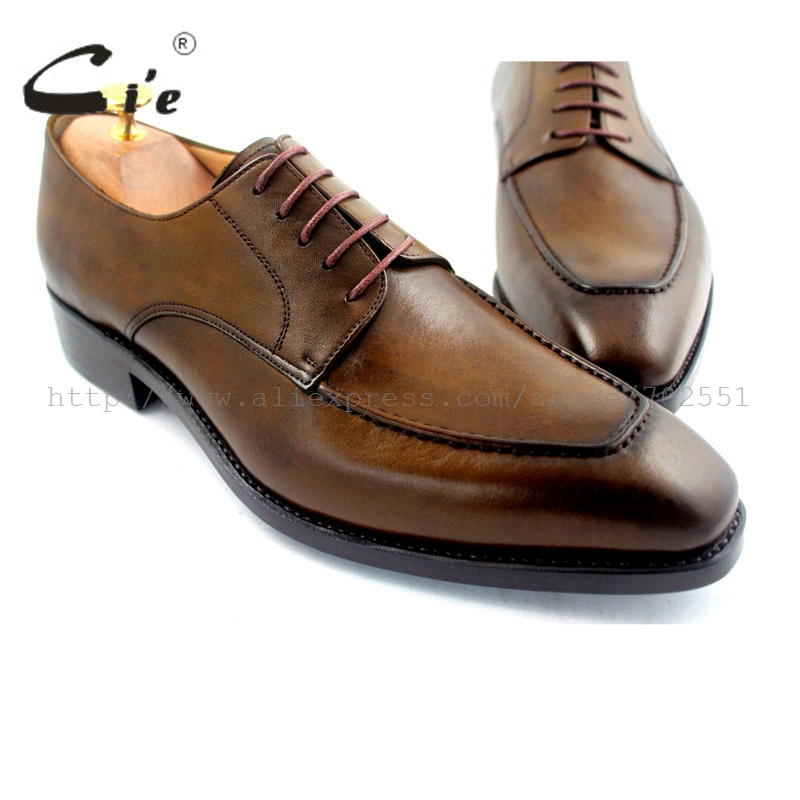 цена на cie Goodyear Welted Handmade 100% Genuine Calf Leather Outsole Breathable Men's Dress/classic Derby Patina Brown Shoe No.D49