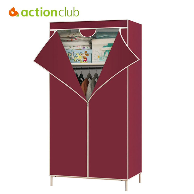 Actionclub Wardrobe Closet Large Simple Wardrobe Cabinets Simple Folding Reinforcement Portable Storage Cabinet 11 Colors стоимость