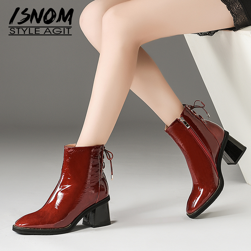 ISNOM Patent Leather Women Ankle Boots Lace Up Square Toe Footwear Zip Female Boot Thick High