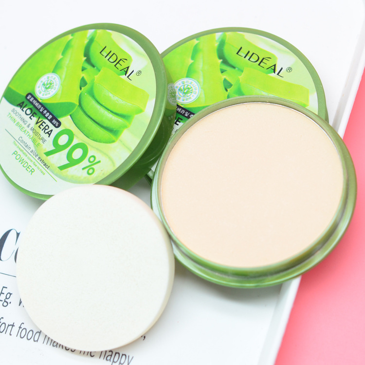 Natural Aloe Vera Moisturizing Smooth Foundation Pressed Powder Makeup Concealer Pores Cover Face Whitening Brighten Powder image