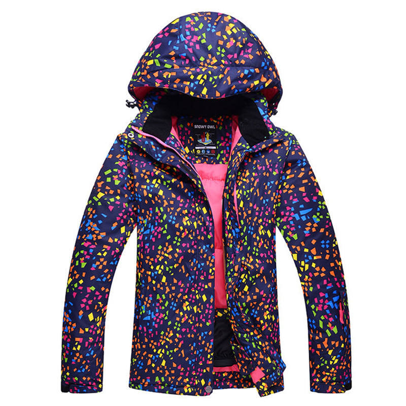Cheap Snow Jackets Women Snowboarding Clothing Girl Snow cost Outdoor Sports Waterproof Thick Warm ski jacket female dot colors