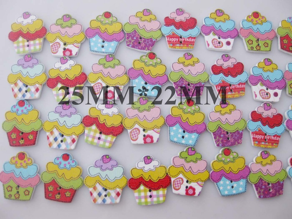 WBNLKA Icecream decorative wood buttons mix 100pcs 2 holes flatback sewing scrapbooking craft accessory
