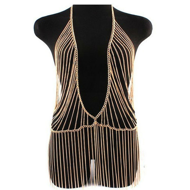 3 style Nightclubs sexy show body jewelry tassel necklace women gold plated fashion body chain punk large necklace C018