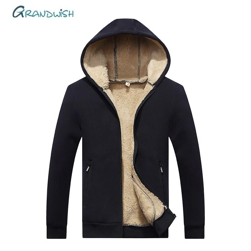 Grandwish Hoodies Men Coat Sweatshirts Velvet Zipper Warm Male Casual-Wool Winter Thicken