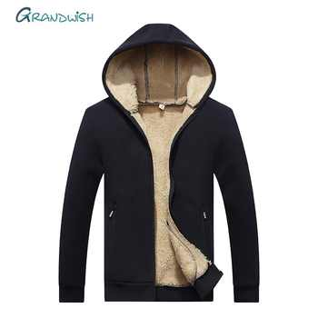 Grandwish Hoodies Men Hooded Casual Wool Winter Thicken Warm Coat Male Velvet Male Sweatshirts Coat Zipper Hooded Jackets ,DA943 - DISCOUNT ITEM  49% OFF All Category