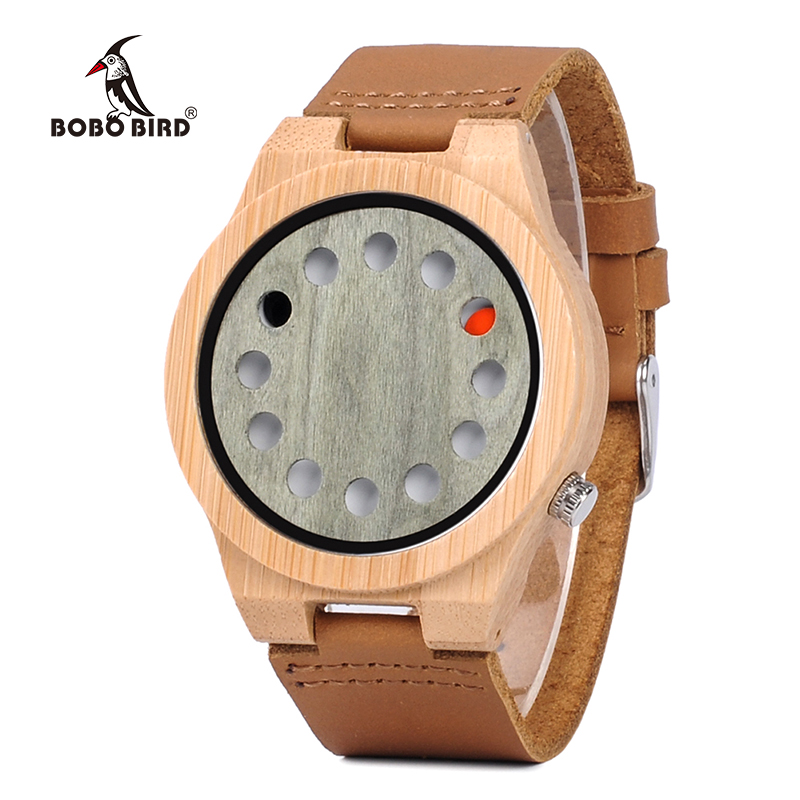 BOBO BIRD Bamboo Face Wood Watch Men Clock Quartz Genuine Leather Wristwatch relogio masculino J-A03 bobo bird l26 square zebra wood bamboo quartz watch men s top casual brand watch relogio masculino with leather strap for gift