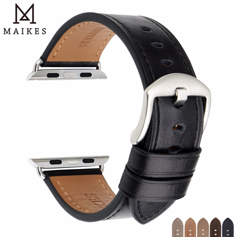 MAIKES Leather Watch Band Replacement iWatch Watchband For Apple Watch Band 44mm 40mm / 42mm 38mm Series 4 3 2 1 iWatch Bracelet maikes new design gunuine leather watch strap bracelet vintage greasedleather for apple watch band 42mm 38mm iwatch watchband
