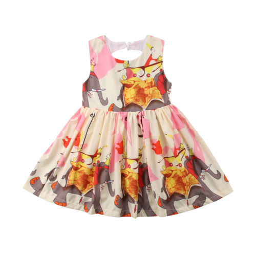 Child Toddle Summer Dress Sleeveless Backless Baby Girls Dress Party Casual Dresses Cotton Clothes Cute Baby Girl 2-7T