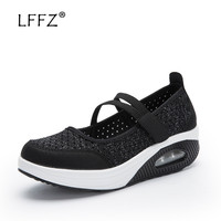 LFFZ New Design Harajuku Shoes Women Mesh Breathable Fashion Ballet Flats Shock absorbing Cushion Women Casual Shoes 35 42