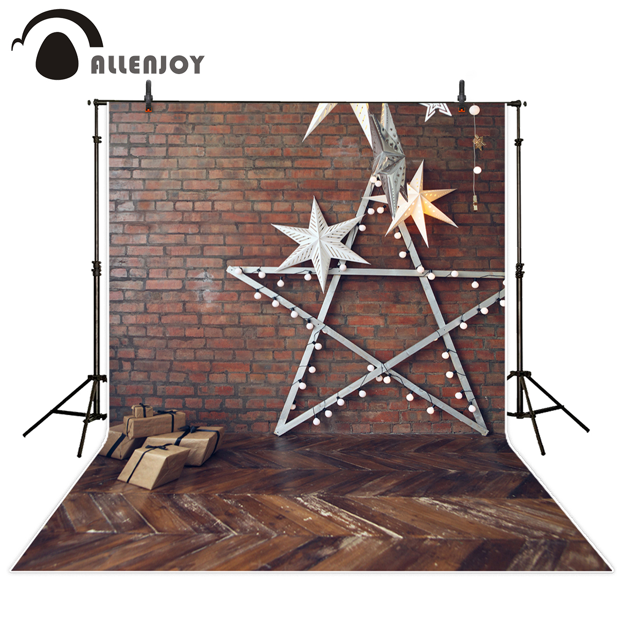 Allenjoy photography backdrops brick wall snowflake star wood floor decor backgrounds for photo studio photo background vinyl