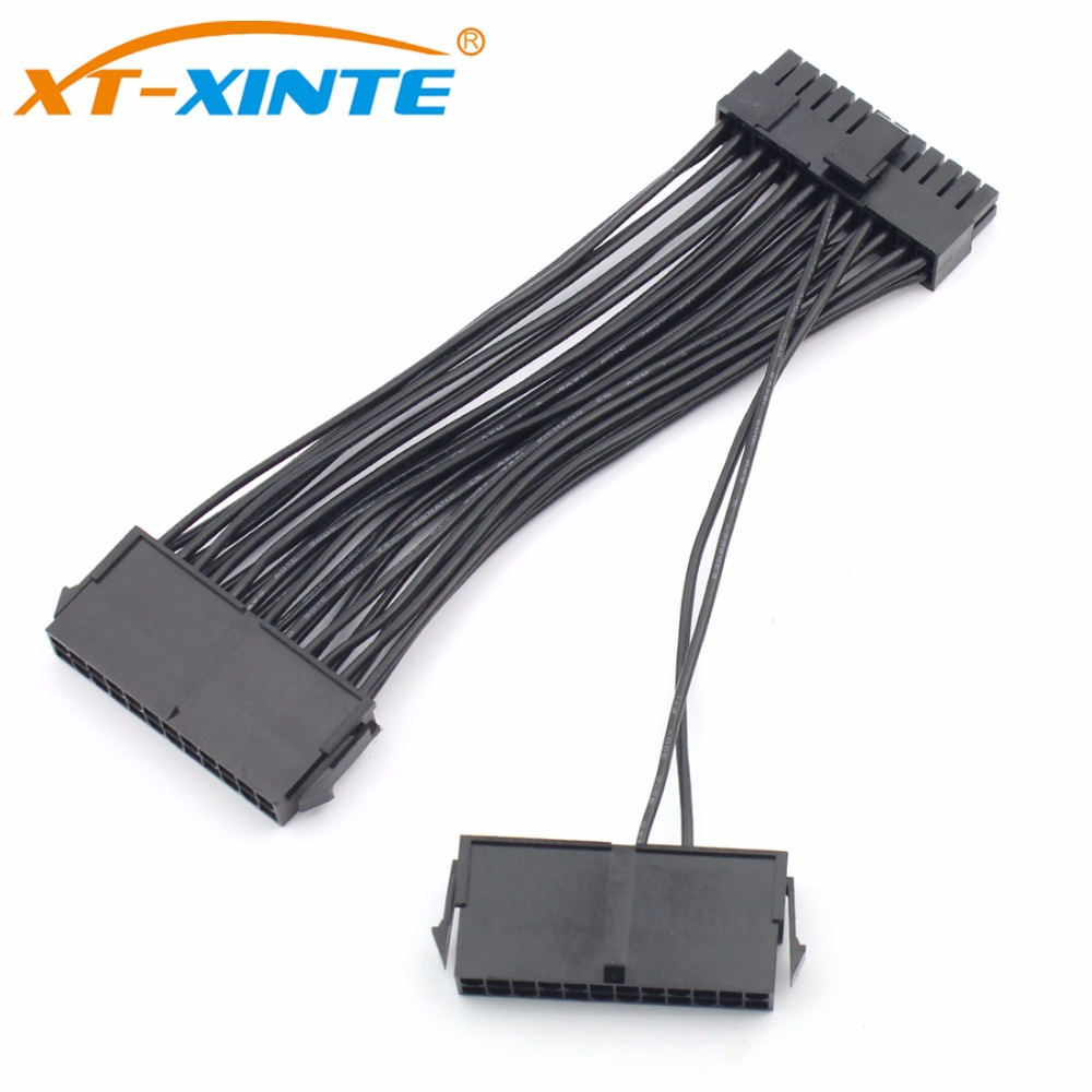 24Pin ATX Dual PSU Power Supply Extension Cable 30cm/15cm Adaptor Connector for Computer Mining Starting Line 24Pin 20+4pin pc computer digital lcd power supply tester 20 4p 24 pin psu atx btx itx diagnosis card ssd hdd sata cd com debug card