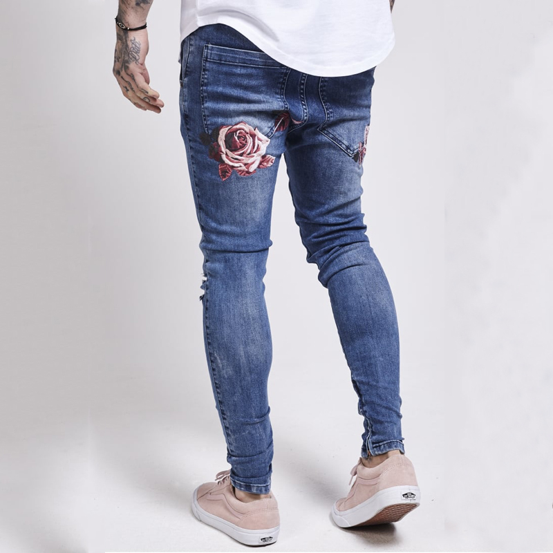2018 New Designer Men Jeans Famous Brand Italian Luxury Rose Embroidered Jeans Slim Fit Mens ...