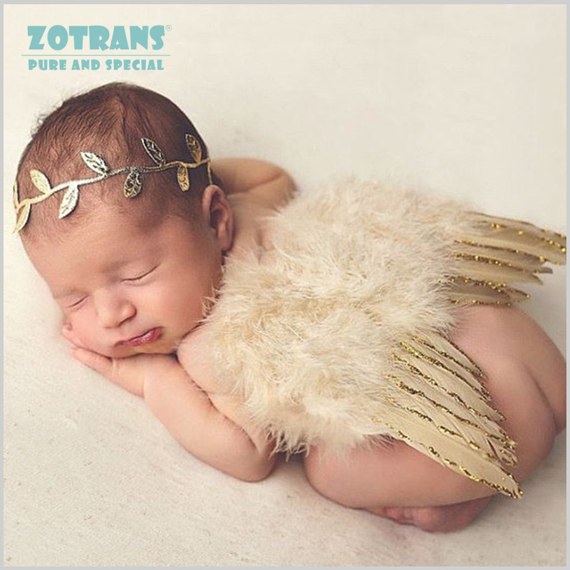 Newborn Photography Props Angel Feathers Wings Baby Costume Clothes With the Leaves Hair Band Photography Accessories For Infant цена