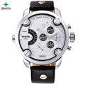 2016 Stainless Steel Genuine Leather Fashion Casual Analog Waterproof Quartz Wristwatch Men Sport Watches Male Relogio Masculino