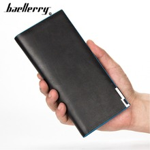 2019 Baellerry Men Wallets Long Style Business Thin Open Solid Wallet For Casual Cell Phone Pocket Card Holder Male