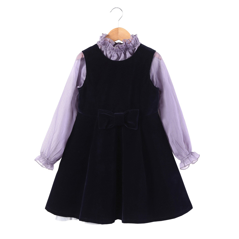 Children Clothing Sets Boys Girls Long Sleeve Chiffon Blouse+Velvet Fabric Vest Dress Kids Clothes Princess Suit for Girls CC934 2018 girl summer sets new children s skirt 2pcs college chiffon clothing set white half sleeve blouse black long skirts suits