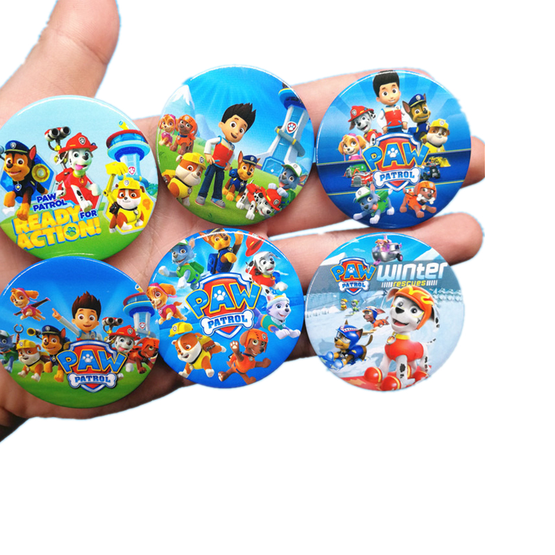 Paw patrol dog toy badge button child clothing accessories pendant anime character action model best gift for children in Action Toy Figures from Toys Hobbies