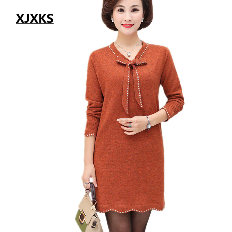 XJXKS New 2019 female cashmere sweater dress autumn and winter loose large size long paragraph comfortable