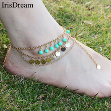Hot Vintage Gold Multi layer Bijoux Sequins Bohemian Anklet Ankle Bracelet Beach Foot Chain Anklets Barefoot Sandals Jewelry
