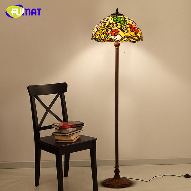 FUMAT Tiffany Stained Glass Floor Lamp European Style Classic Flowers Shade  Light For Living Room Home