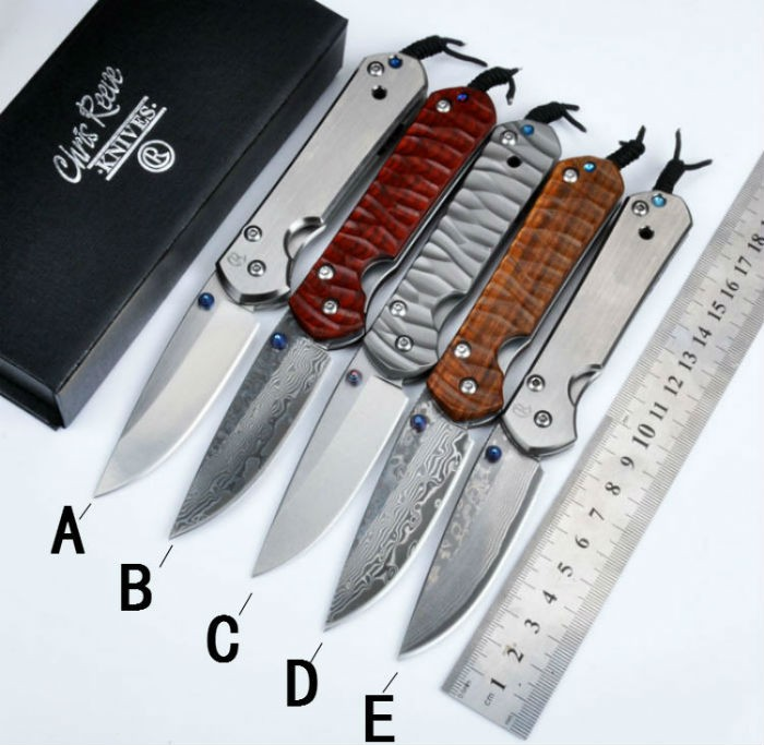 Damascus D2 Blade TC4 Titanium alloy Handle Folding font b Knife b font Chris Reeve Pocket