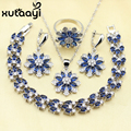 Classy Blue Created Sapphire White Created Topaz Four Piece Women Jewelry Set Silver Color Ring Size 6/7/8/9/10 Women Wedding