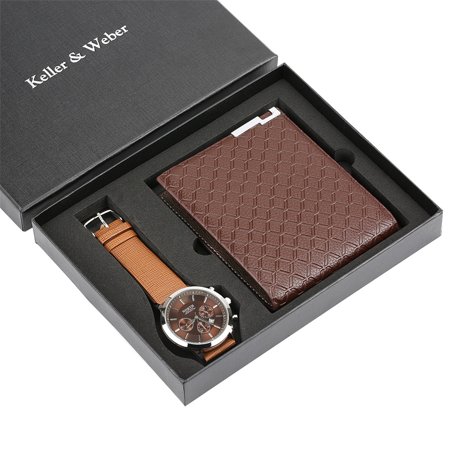 все цены на Fashion Brown Wrist Watch Mens Quartz Leather Wallet Gift Set reloj masculino Men's Wristwatch Birthday Gift for Boyfriend reloj