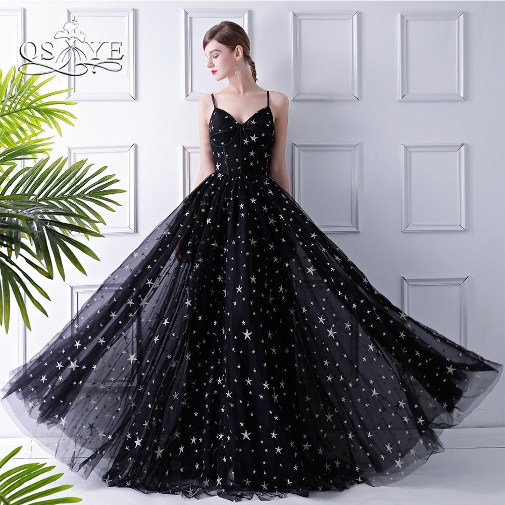 QSYYE 2018 Saudi Arabia Evening Dresses Sexy Spaghetti Straps Sweetheart Floor Length Tulle with Stars Long Prom Dress Custom