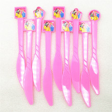 10p Ariel/Snow White/Belle/Cinderella/Jasmine/Aurora Princess Disposable Knife Birthday Party Supplies Baby Shower Decoration