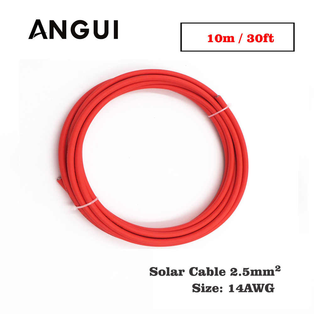 10m 30ft x 14AWG 2.5mm2 Red Color Positive wire PVC Insulated photovoltaic electrical MC4 Connector cables solar panel connect