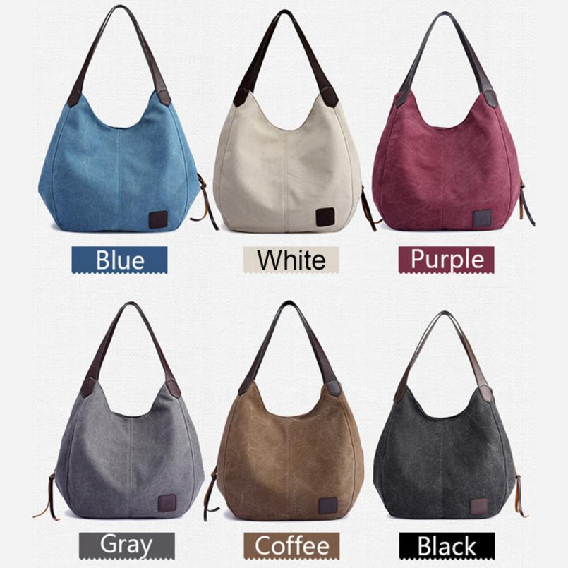 New Arrival Womens Canvas Handbags 2018 Hot Sale Lady Vintage High Quality Female Hobos Single Shoulder Bags bolsa feminina S