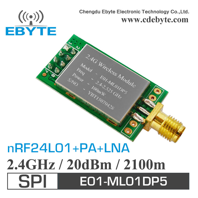Special promotions E01-ML01DP5 Ebyte 20dBm 2.4GHz 2100m long-distance SPI nrf24L01+PA+LNA RF wireless transceiver module + Anten 10pcs lot long distance nrf24l01 power plus 2 4g wireless module industrial grade electronics kit with tracking no